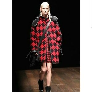 Coach Wool Houndstooth Parka Leather Hood